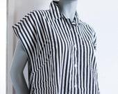 Vintage oversized Bluse M Streifen schwarz-weiß Stripes 80er 90er 90s Shirt Top Baumwolle DDR Knopfleiste button uo down mom style