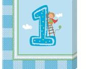 20 Servietten First Birthday blau