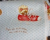 Nursery Rhyme Vintage Fabric Cat and Fiddle Little Miss Muffet Spider Row Row Boat Shoe baby fabric