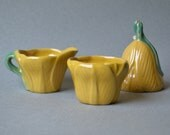 3 pc Rosemeade Bell - Creamer - Sugar Set - yellow tulip pattern