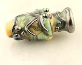 Reserved, Lampwork Glass Bead Organic Urn Focal Green Blue Metallic Black Art Nouveau
