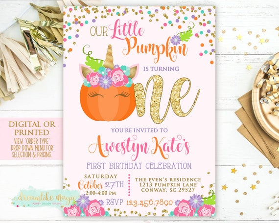 Fall pumpkin party birthday invitation fall unicorn birthday party il570xn filmwisefo