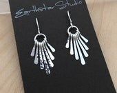 Sterling Silver Earrings, Argentium Hammered Dangles, Sun Rays