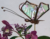 Small Tiffany Stained Glass Butterfly Plant Stake, Garden Art, Gift, Home Decor, Floral Support, Sun Catcher, Clear Iridescent Glass  Insect