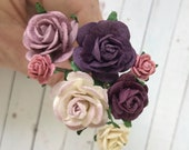 Flower Hair Pins in Shades of Plum Purple, Mauve, and Cream for Weddings, Prom, Bridesmaids // Bobby Pin Gift Set // Romantic Bridal Style