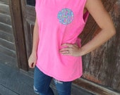 Monogrammed Comfort Colors Tank Top- Lilly Pulitzer Applique- Lilly Inspired- Unisex- Scalloped Monogram