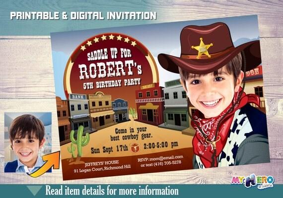 cowboy birthday invitation with your boy as the greatest cowboy