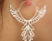 Engel Angel Wings Flügel Gipsy Hippie Design Goa Boho Ohrringe Ohrhänger Creolen Silber plattiert neu