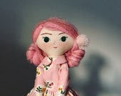 Size MEDIUM Tiny Handmade traditional cloth doll with pink Heather Ross floral Peter Pan collar dress and crocheted wrapper