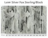 Luxe Silver Fox Sterling / Black - Silver Fox Minky -Shannon Fabric Minky - Hide Minky - Luxe Minky - Soft Minky -Fur Minky - Faux Fur Minky
