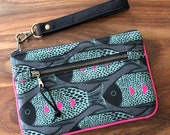 Medium Double Zip Wristlet with Card Slots and Removable Wrist Strap - Polka Dot Fish