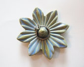 Arctic Blue Ring Dish - 8 petal flower - Clay Pottery Ring Holder - Jewelry Organizer - Gift for Her, ready to mail