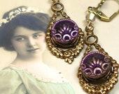 Antique Perfume BUTTON earrings, Victorian purple velvet buttons. Unique jewellery, present, gift.