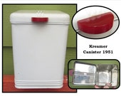Vintage White Metal Kitchen Canister w/ Hinged lid & Red Catalin Bakelite Handle by Kreamer, 50s, storage container