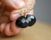 Faceted Black Onyx Earrings . Sterling Silver Gemstone Dangle Earrings . Large Black Earrings . Jet Black Drop Earrings NEW