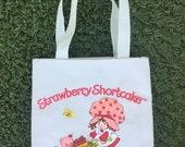 Vintage Strawberry Shortcake canvas tote bag handbag