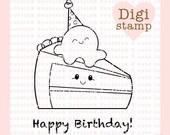 Birthday Cake Digital Stamp - Birthday Digital Stamp - Digital Birthday Stamp - Cake and Ice cream Art - Birthday Card Supply