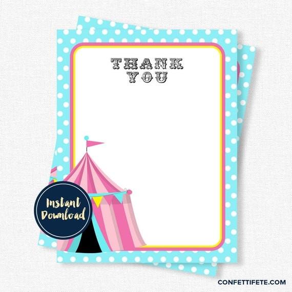 Circus Thank You Card Carnival Thank You Cards Circus Tent Big Top
