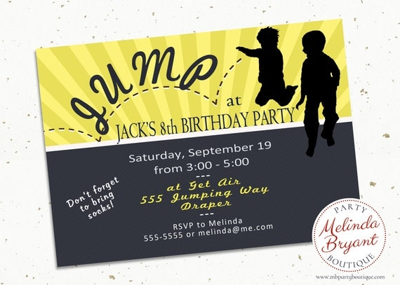 Trampoline Party Birthday Invitations Jump Invite Bounce House Printable Personalized Invitation First Custom Boys Girls