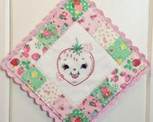 sweet strawberry embroidered pot holder