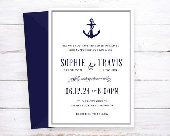 Classic Nautical Wedding Invitation, Anchor Wedding Invitation ...