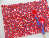 Kids Placemat - Red Retro Flower Placemat - School Placemat - Montessori accessories - Eco Kids - Kids Cloth Napkin and Placemat - lunchbox