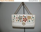 ON SALE Vintage 60s Woven Jeweled Purse From Bags By Patricia
