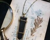 callista • black tourmaline necklace • black crystal necklace - witch jewelry - tourmaline point necklace - black stone pendant