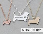 Basset Hound Dog Necklace • Dog Mom Gift Pet Mom Dog Loss Dog New • Pet Necklace Personalized Pet Rose Gold Pet Dog Mom Jewelry
