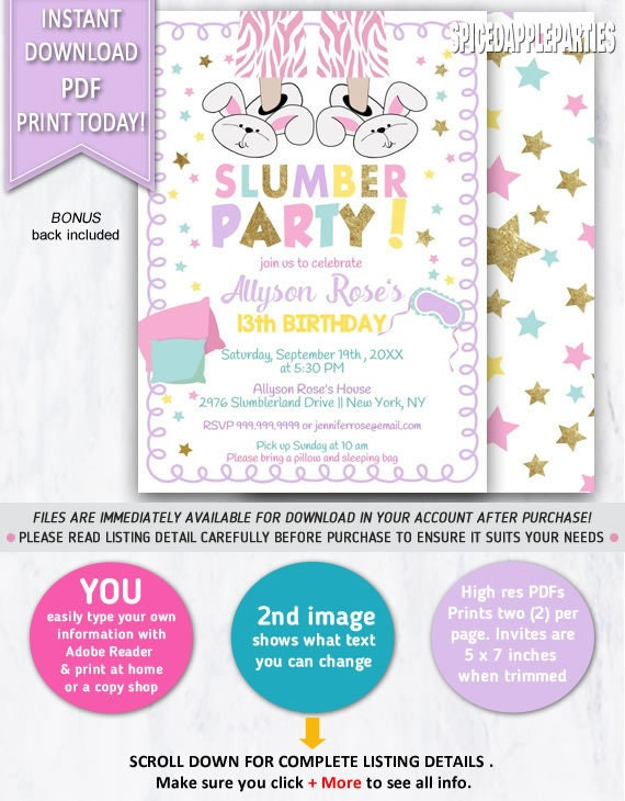 slumber party birthday invitation sleepover party sleepover