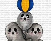 BABY SEALS DIGITAL Stamp by Sasayaki Glitter digital stamps - Naz- Available in black and white and coloured. In Png and Jpg format.