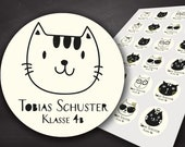 Aufkleber, Sticker, Etiketten, Schule, Schulaufkleber, Namensaufkleber, Heftaufkleber, Buchaufkleber, Kennzeichnung von Eigentum, Cat, Katze