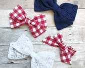 QUICK SHIP Patriotic Bows - Red, White, & Blue Fabric Bow - Choose nylon headband or adjustable clip
