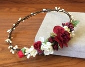 Red flower crown flower hair wreath boho flower crown wedding headband bridal floral crown wedding flower headpiece bridal flower crown halo