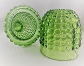Vintage Green Hobnail Fairy Light - Uranium Glass - Glowing Glass - Lamp Stand and Shade