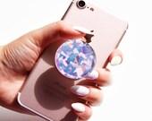 Holograficzne różowe złoto, kryształ, kamień szlachetny, opalizujący, błyszcząca kalkomania/naklejka na popsockets, dla posiadacza selfie, do uchwytu na telefon