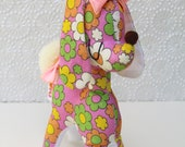 Cute Posh Poodle Retro Fabric Toy - Daisies on Pink