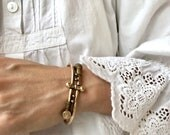 Victorian bypass bracelet   1800s Etruscan style bracelet   antique