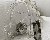 Crown Birdcage cloche, French wire art, Nordic, sea shells , Jeanne d Arc Living