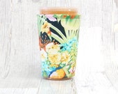 Tropical Bouquet Iced Coffee Cozy, Cup Cozy, Iced Coffee Cozy, Cup Sleeve, Coffee Cuff, Drink Sleeve