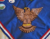 Boy Scouts/Eagle Scouts scarf and assorted patches