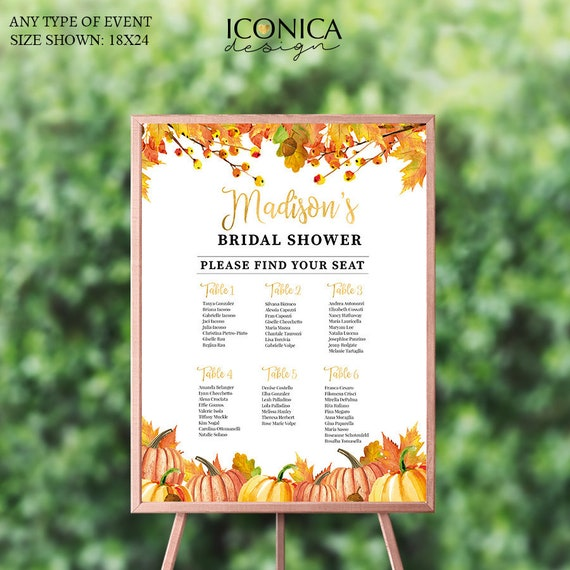 fall party seating chart board custom guest list chart personalized