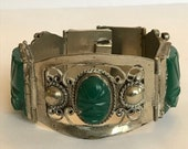 """ON SALE Taxco Green Onyx Sterling Bracelet 7.25"""" Carved Faces 925 Silver Mexico Mexican Vintage Jewelry Birthday Anniversary Holiday Christm"""