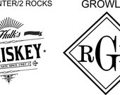 Custom listing for Kelly - 64oz growler with monogram and decanter with rocks glasses with hulks whiskey