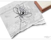 Stempel Motivstempel - Blume abstrakt, Fineline - Bildstempel für Karten, Servietten, Tischdeko, Scrapbook, Art-Journal, Kunst und Deko
