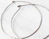 Labor Day Sale - Silver Hoop Earrings - Simple Silver Hoops - Silver Wire Hoops - Oxidized Silver - Large Silver Hoop Earrings