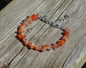 Carnelian Stone Bracelet ~ Natural Irregular Stones ~ Sunset Colours ~ Bohemian Orange Red ~ August Birthstone ~ Retirement Gift ~ OOAK