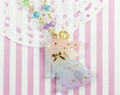 Rainbow Bunny Necklace | Sweet Bunny Pendant | Sweet Lolita Bunny | Royal Bunny | Rainbow Rabbit Necklace | Elegant Lolita Rabbit Pendant