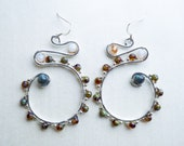 Journey of the Earth Silver Earrings - Made with Amber & Labradorite