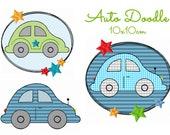 Stickdatei, digitale Stickdatei,Stickdateien Auto Doodle 10x10cm